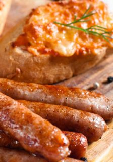 appetizers and canapés with sausage, bread