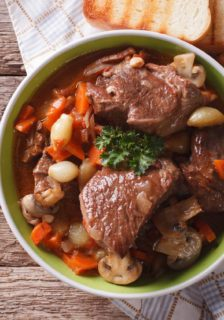 Wild Game Bourguignon Using Elk Bison or Wild Boar Meat