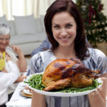 Happy Woman with cooked turkey